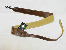 PERRI'S Tooled Soft Italian Leather chestnut brown GUITAR strap NEW