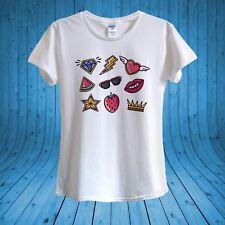 Pop Art Stickers Lips Crown Diamond Star Heart T-shirt 100% Cotton unisex women
