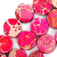 "7mm Red Sea Sediment Jasper Coin Gem Beads 16"""