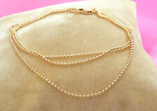 "mini ball chain gold chain solid 14k yellow gold necklace 20"" 50.8cm 1mm"