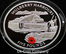 2004 Gibraltar Sterling Silver £5 Five Pound Proof Coin Mulberry Harbour