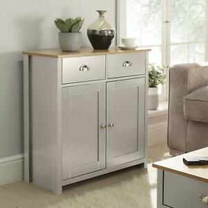 Langdale Grey Oak Sideboard 2 Door 2 Drawer Storage Cupboard Metal Handles