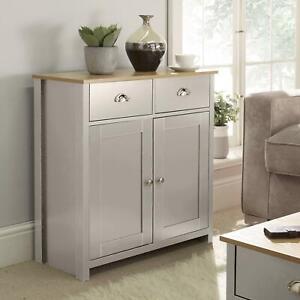 Langdale Grey Oak Sideboard 2 Door 2 Drawer Storage Cupboard Metal Handles