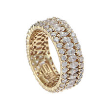 6.06CTW Marquise Round Cubic Zirconia Eternity Band Ring Solid 14k Yellow Gold