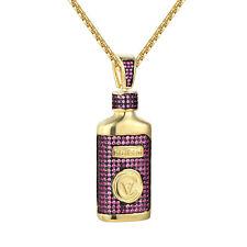 Hi-Tech CV Purple Syrup Pendant Cough Medicine Simulated Diamond Gold Tone Chain