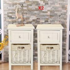Pair of Shabby Chic White Bedside Units Tables Drawers with Wicker Storage UK