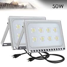 2x 50W LED Flood Light With US PLUG Cool White Outdoor Spotlight Garden Lamp