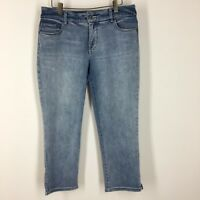 Chicos 1  so slimming women's jeans size 8 cropped ankle Distressed wash