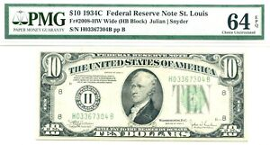 1934C $10 Federal Reserve Note St. Louis, Fr#2008-HW, PMG Choice New 64EPQ