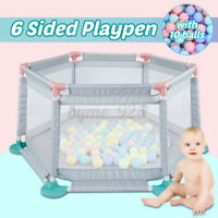 6 Sides Folding Panels Baby Playpen Safety Kids Play Yard Fence Guard Barriers