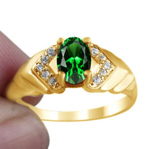 Women Emerald Oval Stone Ring Size Wedding Gift 18K Gold Finish Sterling Silver