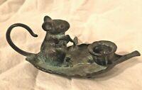 Vintage Brass Candle Holder Mouse on Leaf Rowboat w Paddle