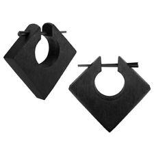 Holz Creolen viereckig quadratisch geometrisch dunkel ebenholz schwarz hölzern