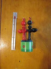 2 Bugs WOOD THUMB PUSH UP PUPPET Red and Black with green base as is