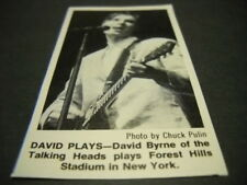 Talking Heads David Byrne at Forest Hills, Ny 1983 music biz promo pic with text