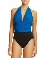 NWT New MIRACLESUIT MAGICSUIT Yves Halter Swimsuit One Piece Blue & Black 8