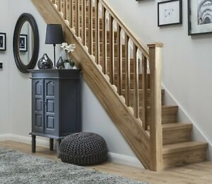 Solid Oak Stop Chamfered Stair & Landing Balustrade Staircase Kit Inc Newels
