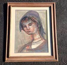 "Josef Presser ""Girl With Purple Hat"" Mixed Media On Paper - Fletcher Gallery"