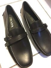 PRADA Men's classic vitello black calf leather driver Size 6.5 M ITALY