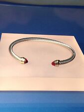 Silver Gold Finish  Ruby Dark Red Crystal  Designer Inspired  Open Cuff Bracelet