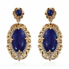 Natural 13.54 Ct Lapis Lazuli White Topaz Ruby 14K Yellow Gold Silver Earrings