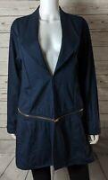 Simply Noelle Womens Sz L/XL 12-14 Open Front Blue Jacket Convertible