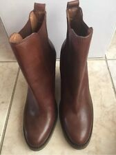 LUCKY BRAND Brown Leather Wedge Heel Ankle Boots Booties Women's 8.5