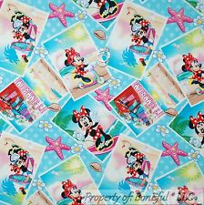 BonEful Fabric FQ Cotton Quilt Blue Water Disney Minnie Mouse Girl Beach Dress L