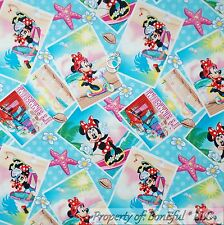 BonEful Fabric Cotton Quilt Blue Pink Disney Minnie Mouse Sea*shell 99 FS SCRAP