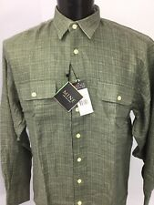 MINE Classic Fit Men's Shirt Size Large Long Sleeve Button Front NWT Linen   M1b
