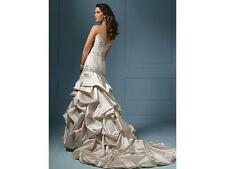 ALFRED ANGELO $1899 SAPPHIRE COUTURE 10 ALMOND SATIN BEADED GOWN WEDDING DRESS