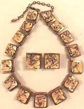 ❤️Matisse Renoir Vintage Necklace & Earring Set ~ Copper & Pink Design Enamel❤️