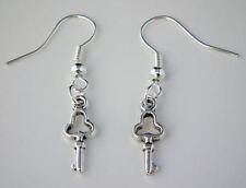 Tibetan Silver Dainty Key Drop Dangle Hook Earrings + Gift Bag Love Valentine
