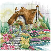 14 count aida needlepoint cross stitch garden kit w colorful chart TD001