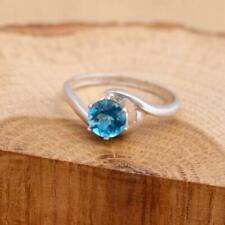 London Blue Topaz 925 Sterling Silver Bypass Solitaire Ring