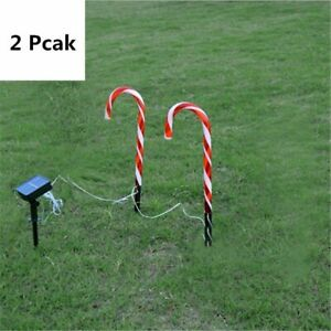 Solar Light Outdoor Garden Walkway Pathway Candy Cane Christmas Decoration Style