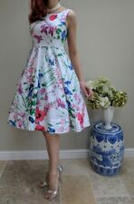 MONSOON MEADOW Floral Cotton Fit Flare Pretty Full Midi Prom Dress 14 *rare*