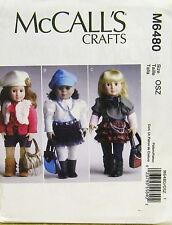 """MCCALLS PATTERN 6480 18"""" DOLL CLOTHES JACKET BAG BELT BOOTS UN-CUT"""