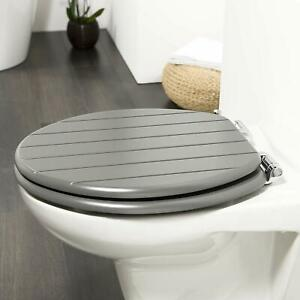 Wood Wooden Grey Toilet Seat Strong Silver Hinges Loo Seats Fittings Included