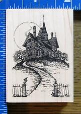 VLVS HAUNTED HOUSE on a HILL SCENE rubber stamp HALLOWEEN MANSION MOON NEW!