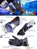 RAC3 Motorbike All Season Waterproof Cowhide Leather Glove Carbon Fiber Knuckle