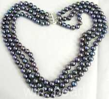 3 Row Black 6-7mm Freshwater Cultured Pearl Necklace 17-19""