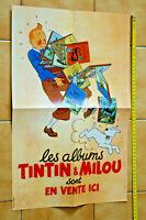 """Fac-similé poster affiche LES ALBUMS TINTIN ET MILOU en vente ici """"1943"""" Hergé"""