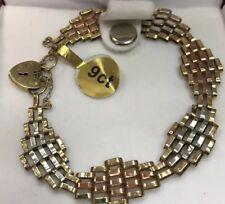 Vittoriano 9 CT Oro insolito Gate Braccialetto in tre colori oro-Rara Design