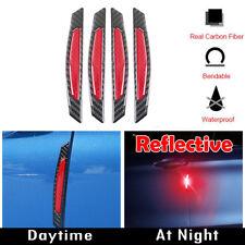 4x Carbon Fiber Super Reflective Red Car Side Door Edge Trim Protection Stickers