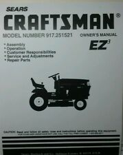 Sears Craftsman Lawn Garden Tractor & Mower Owner & Parts Manual 60p 917.251521