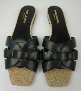 Saint Laurent Nu Pieds Raffia Tribute Mules Black Slide Sandals Size 36.5