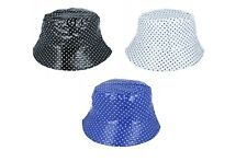 LADIES SHOWERPROOF POLKA DOT RAIN BUCKET HAT REVERSIBLE BLACK BLUE WHITE