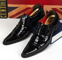Mens  patent leather Dress Formal Lace up pointy toe Oxfords Casual Brogue Shoes
