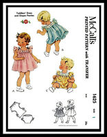 McCall's #1625 BABY Toddler Dress Frock Material Fabric Sewing Pattern 6mth or 1